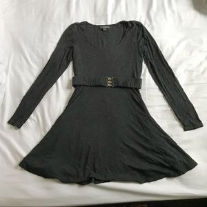 Dark Gray Long Sleeve Belted Forever 21 Sk8r Dress